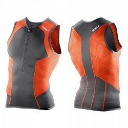 Laufshirt Men's Comp Triathlon RUN SINGLET von 2XU für Herren, Sport-Top, Funktions-Oberteil, besondere Klima-Aktivität, Orange-Grau