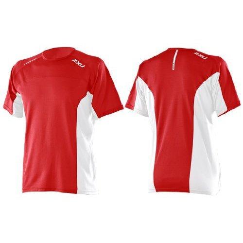 2XU Herren Men's Compression RUN SINGLET, Laufshirt, Sport-Top, Funktions-Oberteil, besondere Klima-Aktivität für Hochleistung und heißes Wetter, in rot-weiss