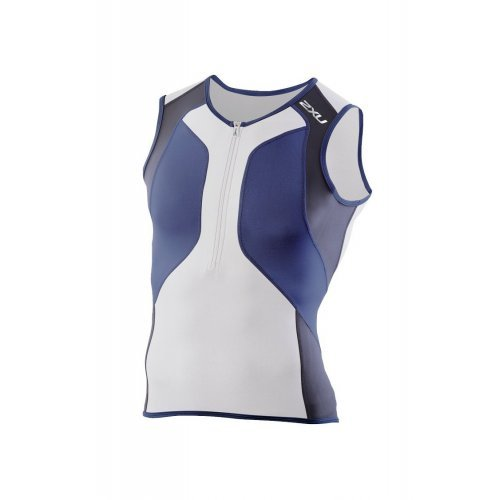 2XU Herren Men's Compression Triathlon RUN SINGLET, Laufshirt, Sport-Top, Funktions-Oberteil, besondere Klima-Aktivität für Hochleistung und heißes Wetter, weiss-blau-schwarz
