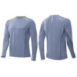 Laufschirt Cruize Long Sleeve Running Top von  2XU für Herren, atmungsaktiv, Feuchtigkeit ableitend, Langarm, Hellblau