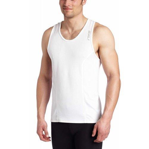 2XU Herren Men's Compression RUN SINGLET, Laufshirt, Sport-Top, Funktions-Oberteil, besondere Klima-Aktivität für Hochleistung und heißes Wetter, in weiss-silber