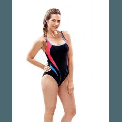 Aqua Sphere Damen Badeanzug Fidji sportlich schick, ideal für Sport- und Freizeitschwimmerinnen, perfekte sichere Passform, chlorresistent, farbecht, schwarz-rot, 8078968699_A