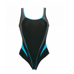 Aqua Sphere Damen Badeanzug Lita Damen Schwimmanzug Wettkampfanzug Sportbadeanzug Einteiler, chlorresistent, farbecht, schwarz-dunkelgrau-türkis, 1270110