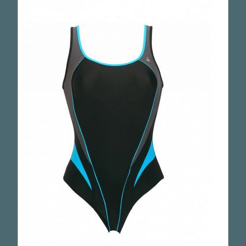 Badeanzug Lita von Aqua Sphere Damen Schwimmanzug Wettkampfanzug Sportbadeanzug Einteiler, chlorresistent, farbecht, schwarz-dunkelgrau-türkis, 1270110