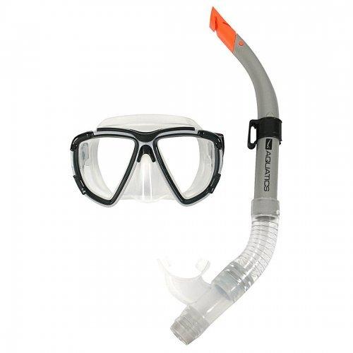 Tauch-Set Aquatics für Erwachsene, Schnorchel-Set, Taucherbrille mit Schnorchel, grau-schwarz-orange