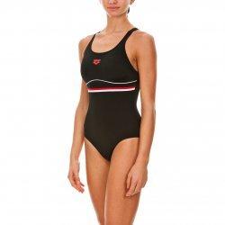 Arena Damen Badeanzug Mesco Black, Red, White, perfekt für Training und Wettkampf, chlor- und salzwasserresistent, lichtbeständig, schnell trocknend, 22371-49