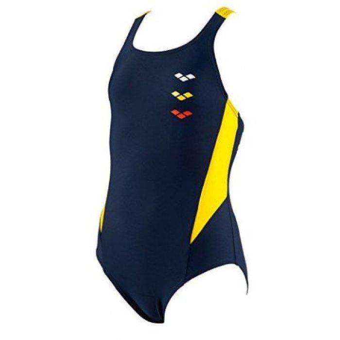 neues Hoch noch eine Chance Turnschuhe 2018 Badeanzug G ASTRUM JR ONE PIECE von Arena für Mädchen perfekt für Training  und Wettkampf, chlor- und salzwasserresistent, navy-yellow