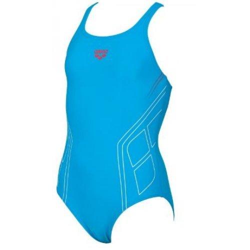Badeanzug Caraiva von Arena, sportlicher Mädchen-Einteiler, Sportbadeanzug, chlorresistent, farbecht, türkis mit roten Kontrasten