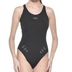 Arena Damen Badeanzug Manama High Black White perfekt für Training und Wettkampf, chlor- und salzwasserresistent, lichtbeständig, schnell trocknend