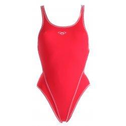 Badeanzug Makina High Rot Weiß von Arena, chlor- und salzwasserresistent, lichtbeständig, schnell trocknend, Rumpf stabilisierend
