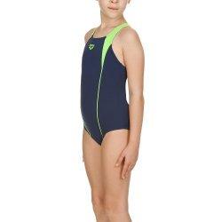 Badeanzug Higher Panel für Mädchen von Arena perfekt, Sportbadeanzug, chlor- und salzwasserresistent, lichtbeständig, schnell trocknend, Navy Energy Grün