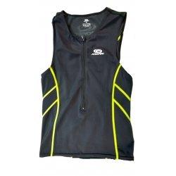 Aropec Triathlon Tri-Shirt Herren, Oberteil, Sport-Shirt, Schwimmshirt, Rad-Shirt, schwarz, gelbe Nähte