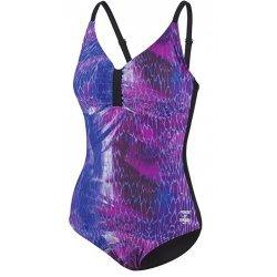 Damen Schwimmanzug Badeanzug Power of Nature, D-Cup, lila-schwarz, 66962