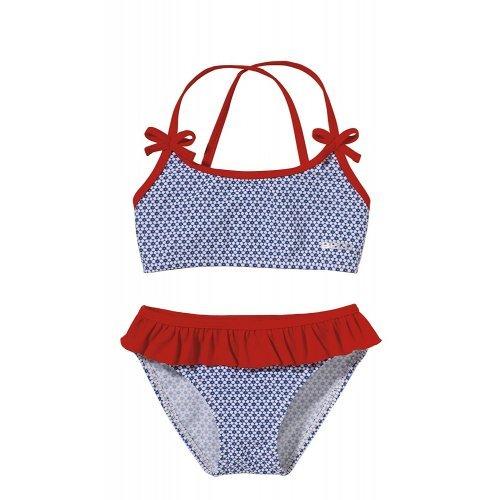 BECO Kinder Bikini-Flower Mädchen, blau/rot
