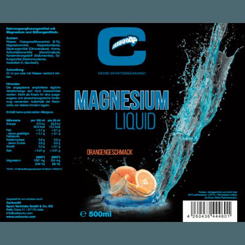 Carboo4U Magnesium Liquid, Ampullen (20x 25 ml), Orangengeschmack, Eine Portion Carboo4U Magnesium Liquid, 25ml, liefert 324 mg Magnesium, Aspartam Frei, leckerer Geschmack, hochwertige Rezeptur und Inhaltsstoffe, ideal für unterwegs