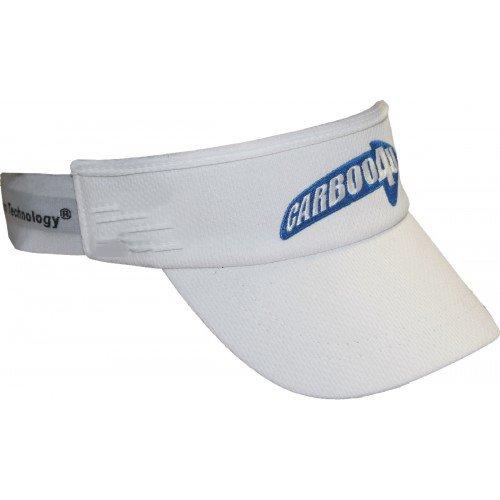 Carboo4U Visor Cap / Weißes Sonnenschild als effektiver Schutz vor Regen, Schweiß und UV-Strahlung im Training oder Wettkampf, Universalgröße