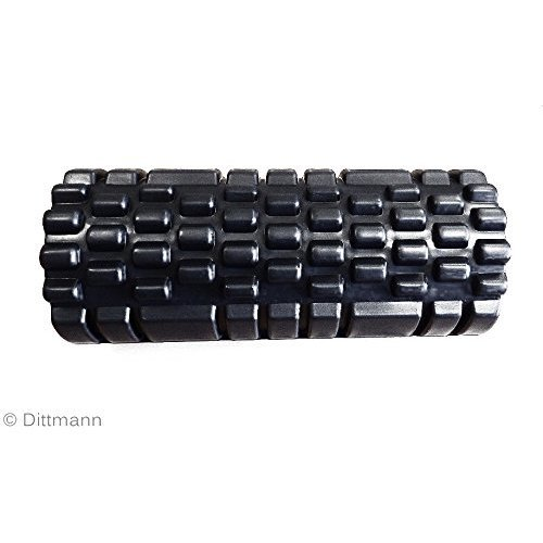 Dittmann Premium Faszien- und Massagerolle, ideal für Fitness, Yoga, Pilates, Stretching und Rehabilitationstherapie - Geeignet für Männer, Frauen und Kinder - schwarz