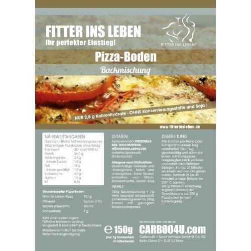 Fitter ins Leben PIZZA Backmischung - 4er Pack (4x150g) - verminderter Kohlehydratgehalt von nur 2,8g je 100g fertigen Pizzaboden ohne Belag - perfekt für die LowCarb-Diät - ohne Konservierungsstoffe und Soya