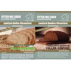 Low Carb Körner Eiweißbrot Brot-Backmischung Paleo Kennenlernpaket geringer Kohlenhydratanteil (Kombipaket: je 1 Backmischung für dunkles und helles Körnerbrot) FITTER INS LEBEN