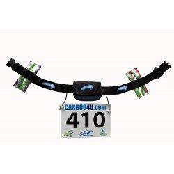Carboo4U Marathongürtel - Startnummernband-Befestigung plus extra Halter für Energie-Gels - Marathon - Laufen - Triathlon