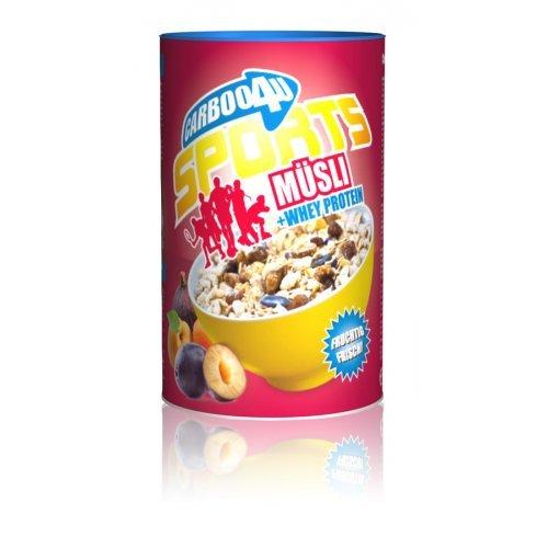 Carboo4U Sports Müsli mit Whey Protein (500g) - geringer Zuckergehalt, keine zusätzlich hinzugefügten Zucker, speziell für aktive Sportler entwickelt