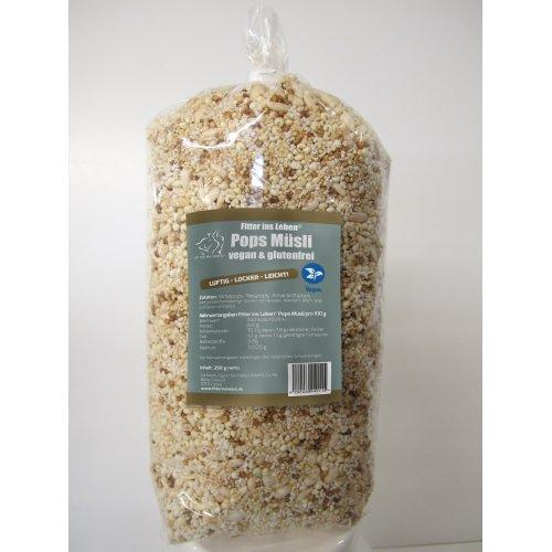 Fitter ins Leben® Pops Müsli - rein vegan und glutenfrei - ohne Zuckerzusatz - ungesüßte Hirse-, Reis- und Amaranthpops, leicht verwertbare Kohlenhydrate