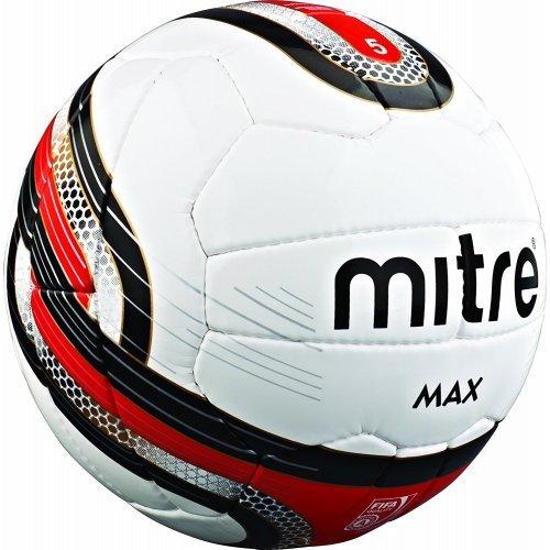 Mitre Kinder Max 26P Professioneller Fußball, Weiß / Rot, Gr. 4