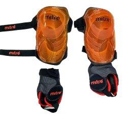 Mitre Schienbeinschoner Flex IP Pro - mit abnehmbarem Knöchelschutz - orange-rot-schwarz