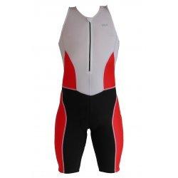 NSA Herren Triathlon-Trisuit mit knielangem Bein, enganliegend, rutschfester Beinabschluss, Sitzpolster für Radfahrer, in Weiss, Rot, Schwarz