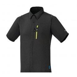 Shimano Herren Kurzarmtrikot, Hemd Button Up anthrazit grau superleicht, atmungsaktiv, High-Tech-Material mit Reflektorlogo vorne