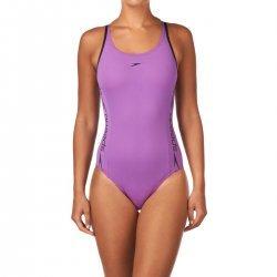 Badeanzug Superiority Powerback Schwimmanzug von Speedo Sportbadeanzug chlor- und salzwasserresistent UV-Schutz lila schwarz -  8-056218329