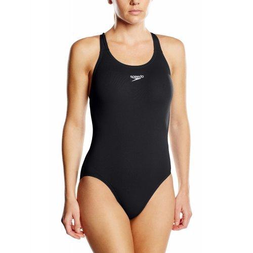 Speedo Damen Badeanzug Essential Endurance Plus Medalist, schwarz - ideal für junge Sport- und Freizeitschwimmerinnen, perfekte sichere Passform, chlorresistent, farbecht