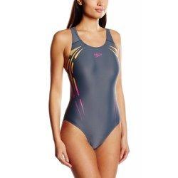 Speedo Damen Badeanzug Placement Powerback für Freizeit und Training grau,orange und pink -  8-06187A396