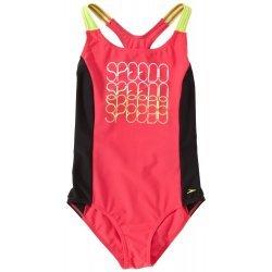Speedo Mädchen Badeanzug Boomsurf - sportlicher Mädchen-Einteiler, großes Speedo-Logo vorn, gekreuzte Träger, perfekte Passform, Freizeit, Sport, chlorresistent, farbecht, perfekt für Schwimmspaß, Schulsport und Vereinstraining – rot-gelb-schwarz