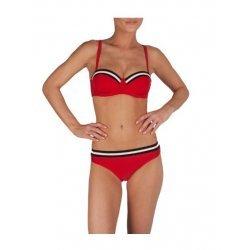Speedo Damen Bikini I2 Robina Cup Retro Solid, klassische Retro Glanz Optik, zweifarbiges Brustband u. Bündchen, dünne Träger, mittlerer Beinausschnitt, pflegeleicht, chlorresistent, lichtecht,  rot