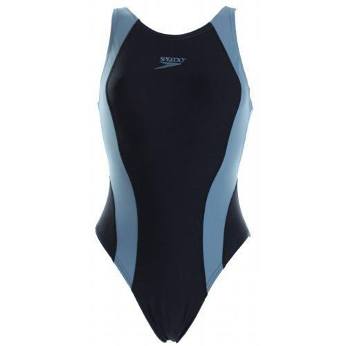 Badeanzug V-Neck Suit, Schwimmanzung von Speedo, Wettkampfanzug, breite Träger, chlorresistent, farbecht,  schwarz-grau