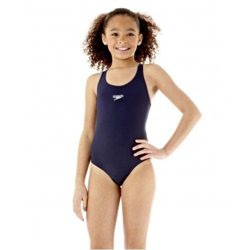 Badeanzug Splashback Solid Girls, Sportbadeanzug, schmale Träger, chlorresistent, farbecht, Navy