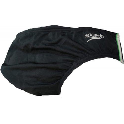 Badehose Endurance + Pulse Aquashort Slip von Speedo, Seitenhöhe 7,5 cm - schwarz-weiss-grün, 8031986727
