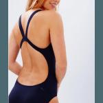 SPEEDO Damen Schwimmanzug Leaderback solid  mit offenem Schwimmerrücken und hohem Beinausschnitt , schwarz, 8-245160001