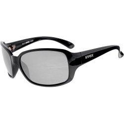 Sportsonnenbrille 14/01 von Uvex mit 100 % UV-Schutz, schwarzes Brillengestell mit smokegrauen Gläsern leicht verspiegelt