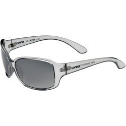 Sportsonnenbrille 14/01 von Uvex mit 100 % UV-Schutz, transparentes Brillengestell mit smokegrauen Gläsern