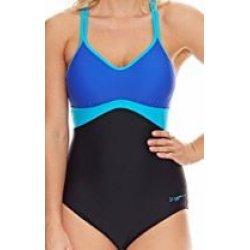 Zoggs Damen Badeanzug Schwimmanzug Bawley Cross Back, für Training und Wettkampf, perfekte Passform, feste Cups, chlorresistent, farbecht, blau-schwarz
