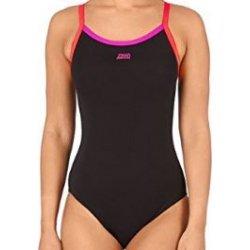 Badeanzug Cannon Strikeback von Zoggs Schwimmanzug Wettkampfanzug Einteiler salzwasserbeständig chlorresistent farbecht, black-pink-red